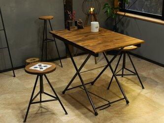 [高さを自由に調節できる]アイアンの折りたたみテーブル ローテーブル ワークデスク キャンプ おうちキャンプ 在宅ワークの画像