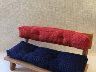 sokko's sofa 紺色xオレンジ配色の画像