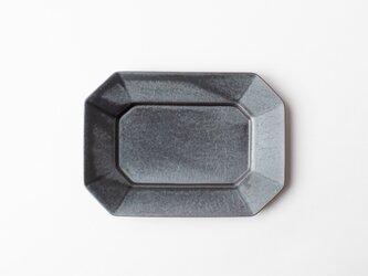 八角プレート M 濃灰 (いぶし釉) の画像