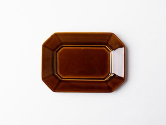 八角プレート M 茶 (飴釉) の画像