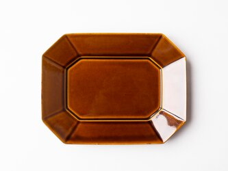八角プレート L 茶 (飴釉) の画像
