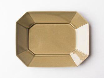 八角プレート L グレージュ (グレー釉) の画像