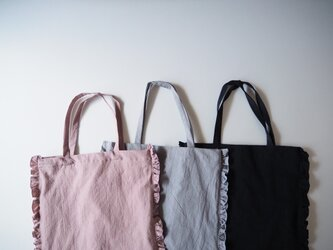 Cotton linen frilled tote bagの画像