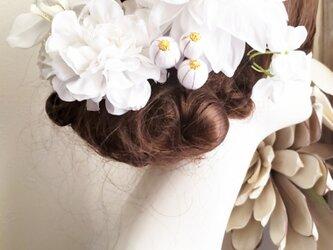 white系ヘッドドレスと和玉ボールの髪飾り9点Set No781の画像