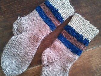 ロシアのヤギの毛糸・ニット手編み靴下・キッズ用の画像