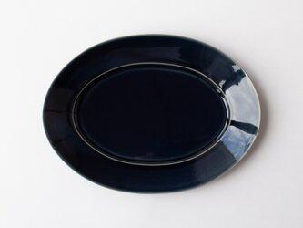 オーバルプレート L 紺 (瑠璃釉) の画像