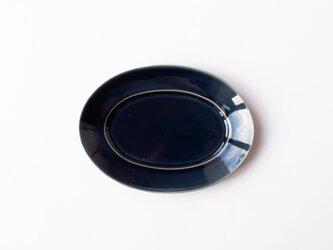 オーバルプレート M 紺 (瑠璃釉) の画像