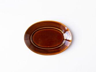 オーバルプレート M 茶 (飴釉) の画像