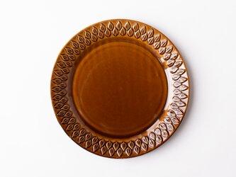 リーフ柄プレート 大 茶 (飴釉) の画像