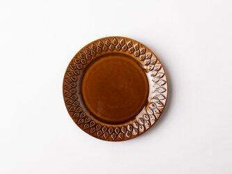リーフ柄プレート 小 茶 (飴釉) の画像