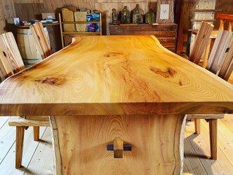 欅 一枚板テーブル オーダーメイドの画像
