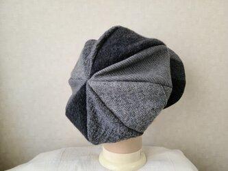 魅せる帽子☆ふんわり♪大きめグラデーションキャスケット~グレーの画像
