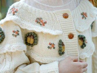 【受注製作】 カーディガン 花柄 セーター ニット S87 0の画像
