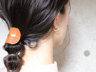 《新色》【美容師が考えたポニーフックレザー 「このは 」】キャメルシボ/ポニーフック(ヘアフック・ヘアカフ)の画像