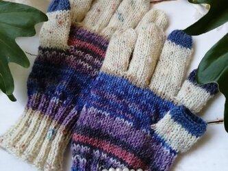 青い鳥〜オパール毛糸のスマホ対応5本指手袋の画像