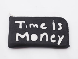 CowLeather LongWallet [time is money](黒)18×9/財布/wl001timeの画像