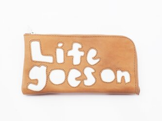 CowLeather LongWallet [life goes on](黄)18×9/財布/wl001lifeの画像