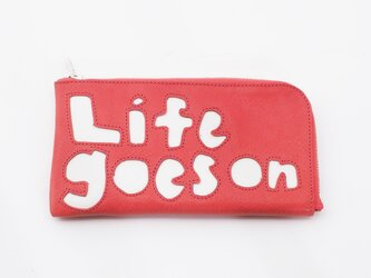 CowLeather LongWallet [life goes on](赤)18×9/財布/wl001lifeの画像