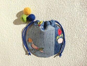 ミニ巾着 カラフルバード 鳥 御守り 小物収納 プレゼント ギフト袋としても の画像