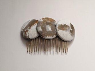書家が作るアートなアクセサリー 惑星シンフォニー/hair accessory/white・gold(一点物)の画像