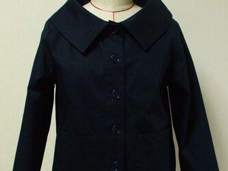細コーデュロイ素材 大きなショールカラーのジャケット(裏地無し)8~9分丈袖 M~Lサイズ 紺色の画像