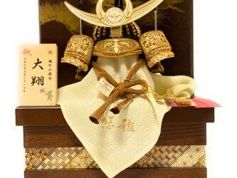 新商品 五月人形 コンパクト 上杉謙信公松4曲屏風寄木細工収納兜飾りの画像