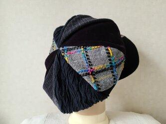 魅せる帽子☆ふんわり♪大きめグラデーションキャスケット~ファンシーツィード&ブラックの画像