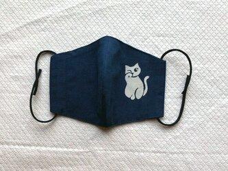 天然藍の型染めリバーシブルマスク  ワンポイント 猫の画像