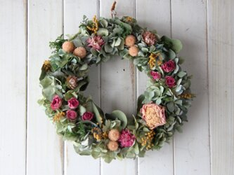 バラと芍薬の春色リースの画像