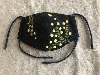 honakana 手刺繍マスク -ミモザ-の画像