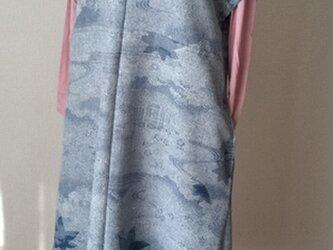 御所解模様がシックな両脇ポケットのチュニックワンピース 絹の画像