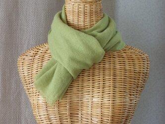手織りカシミアマフラー・・草色の画像