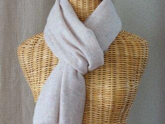 手織りカシミアマフラー・・ベージュピンクの画像