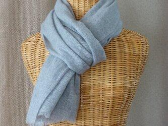 手織りカシミアストール・・グレーの画像