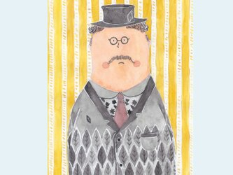 [A¥480] ポストカード 3枚set :031番 「森柄の紳士」の画像