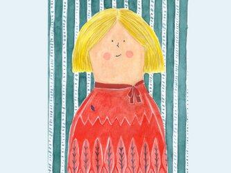 [A¥480] ポストカード 3枚set :032番 「森柄の夫人」の画像