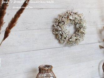 「花筵」wreath    かすみ草とルナリアのリース 桜 ドライフラワーリース の画像