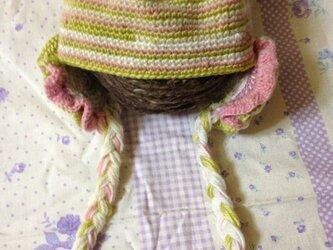 お花のニット帽*ベビーの画像