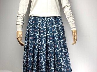 【着物リメイク】タック&ギャザースカート/紺×オフ白×サーモンピンクの画像