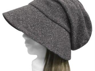 スラブネップコットンニット/つば広女優帽子(ゆったり)◆杢ダークグレーの画像