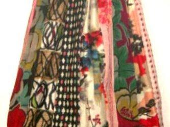 sold out着物リメイク♪銘仙色々ストライプパッチ&バルーンスカート♪ハンドメイド・リバーシブルの画像