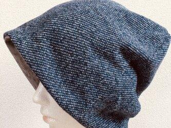 【ゆったりサイズ】ニットソー帽子 ブルーグレー 中厚〜厚地の画像