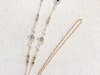 天然石のメガネチェーン(水晶×グリーンルチル×トルマリン×ルチル)の画像