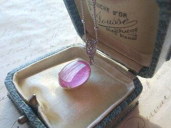 ヴィンテージ Silver-Foil/transparent pink  ネックレスの画像