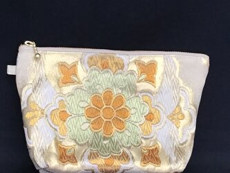 正絹袋帯からリメイク ファスナーポーチ 金 若草色の画像
