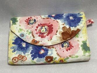 木綿 花柄 17ポケットじゃばらとファスナーポケット カードケースの画像