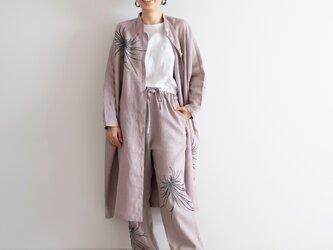 スタンドカラーシャツドレス 墨色乱菊の画像