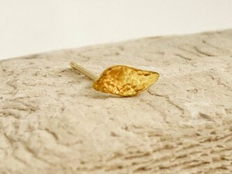 K24 Pure Gold Leaf ◇小さな純金のK18ポスト葉っぱピアス◇スタッドピアス◇片耳分~◇1コ限定の画像