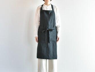 TE-002 [日本製品染め]リネン カフェエプロン(プレーンブラック)teintの画像