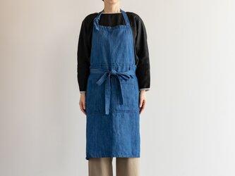 TE-002D コットン/リネン デニム カフェエプロン(ブルー)teintの画像